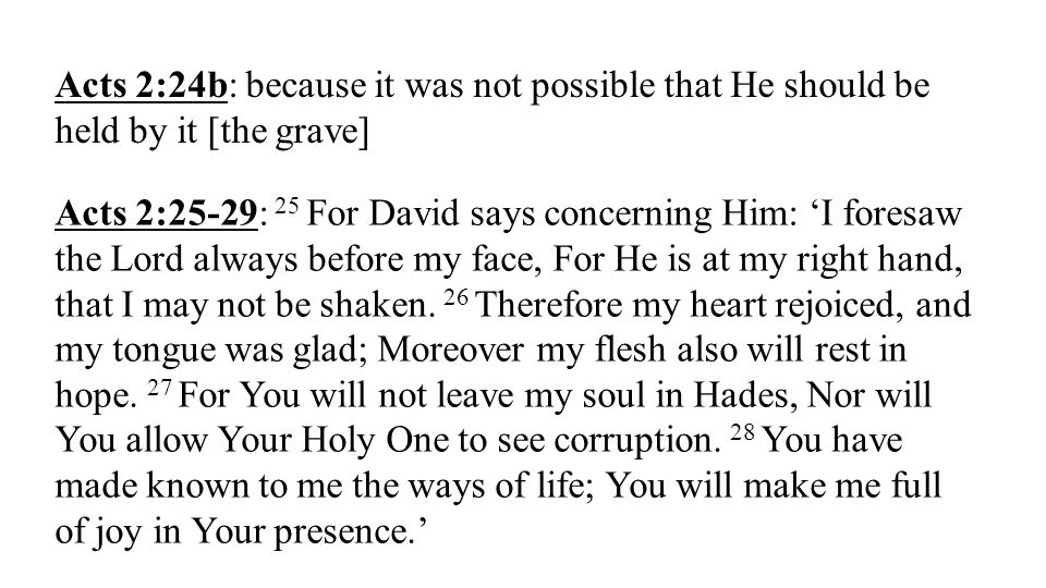 Acts 2:24b: because it was not possible that He should be held by it [the grave]